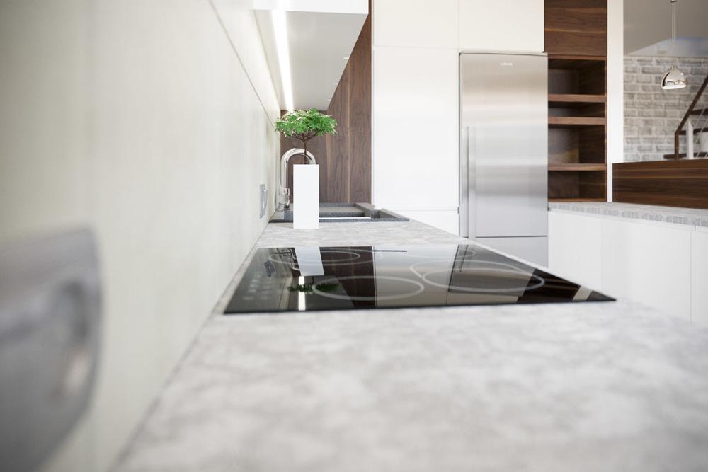Kitchen interior visualization close-up