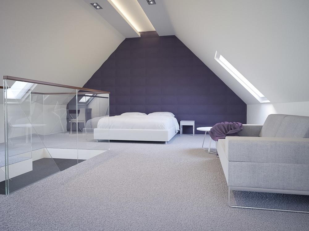 Attic 3d bedroom interior rendering