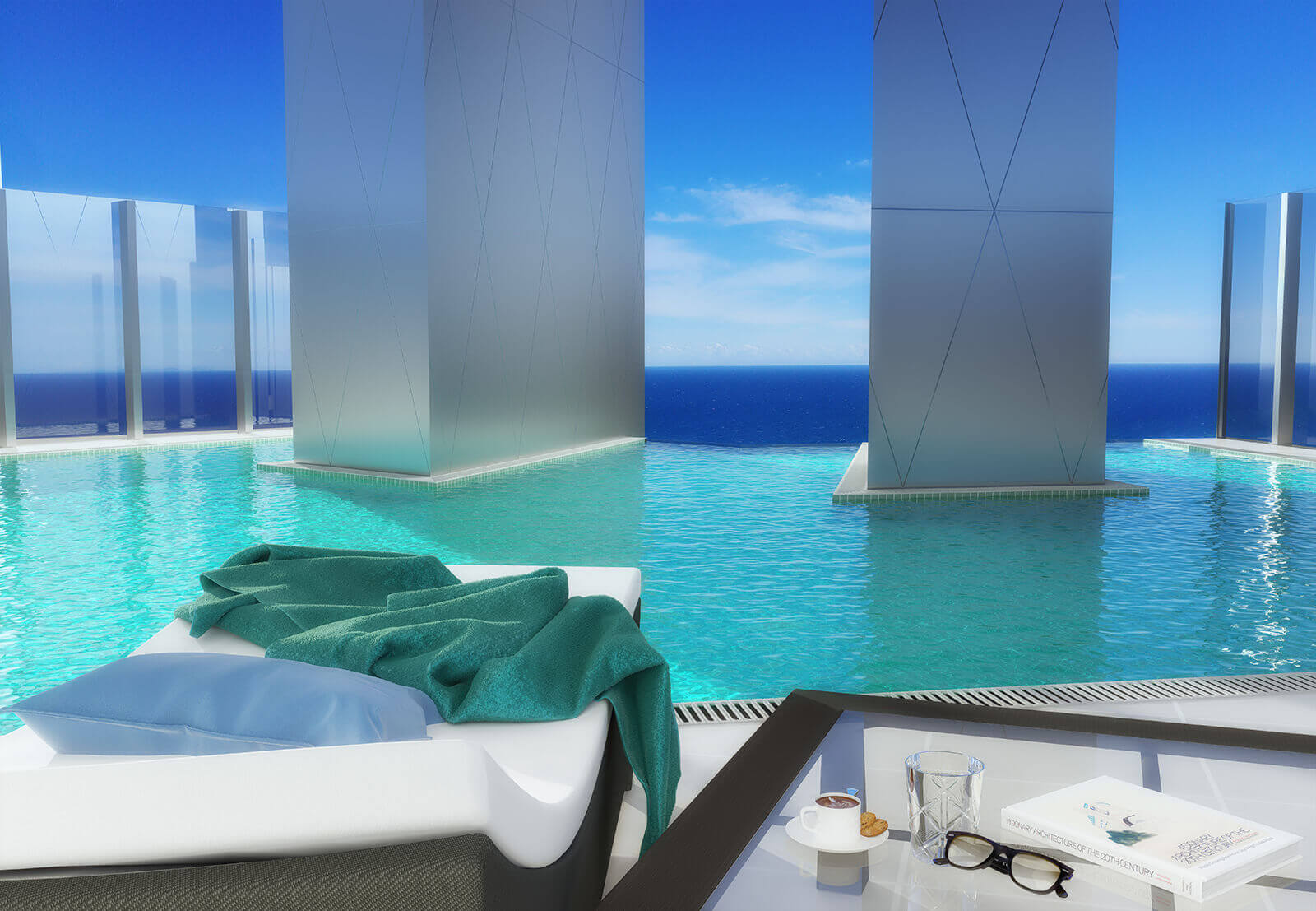 borderless swimming pool 3d exterior render