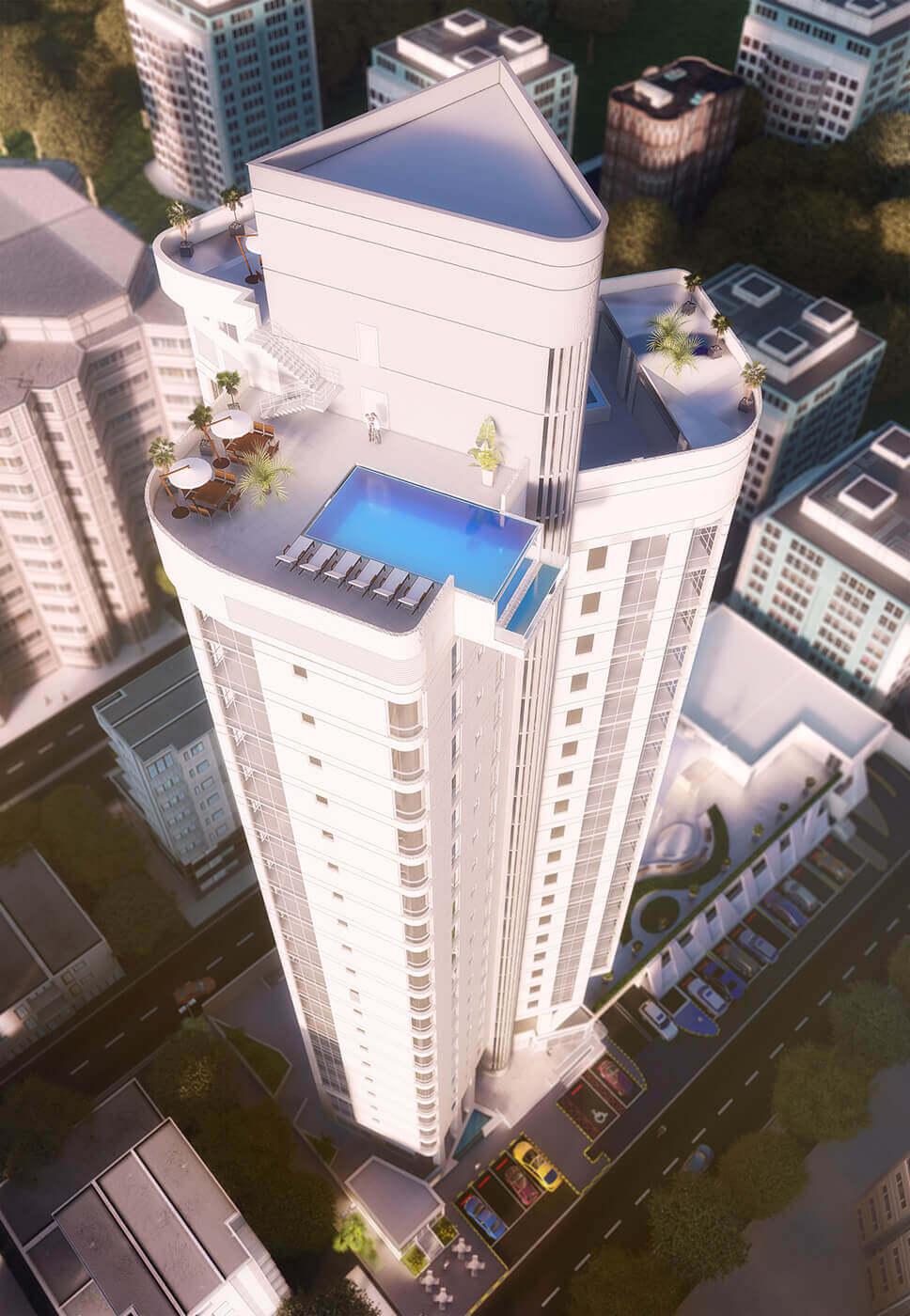 Kuwait tower 3d exterior visualization