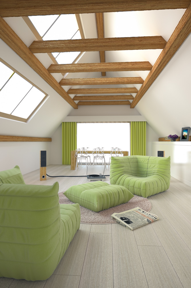 Attic 3d interior rendering