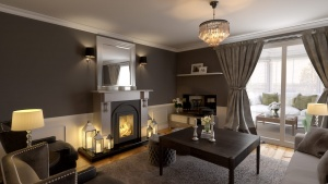 Living room with chimney interior rendering