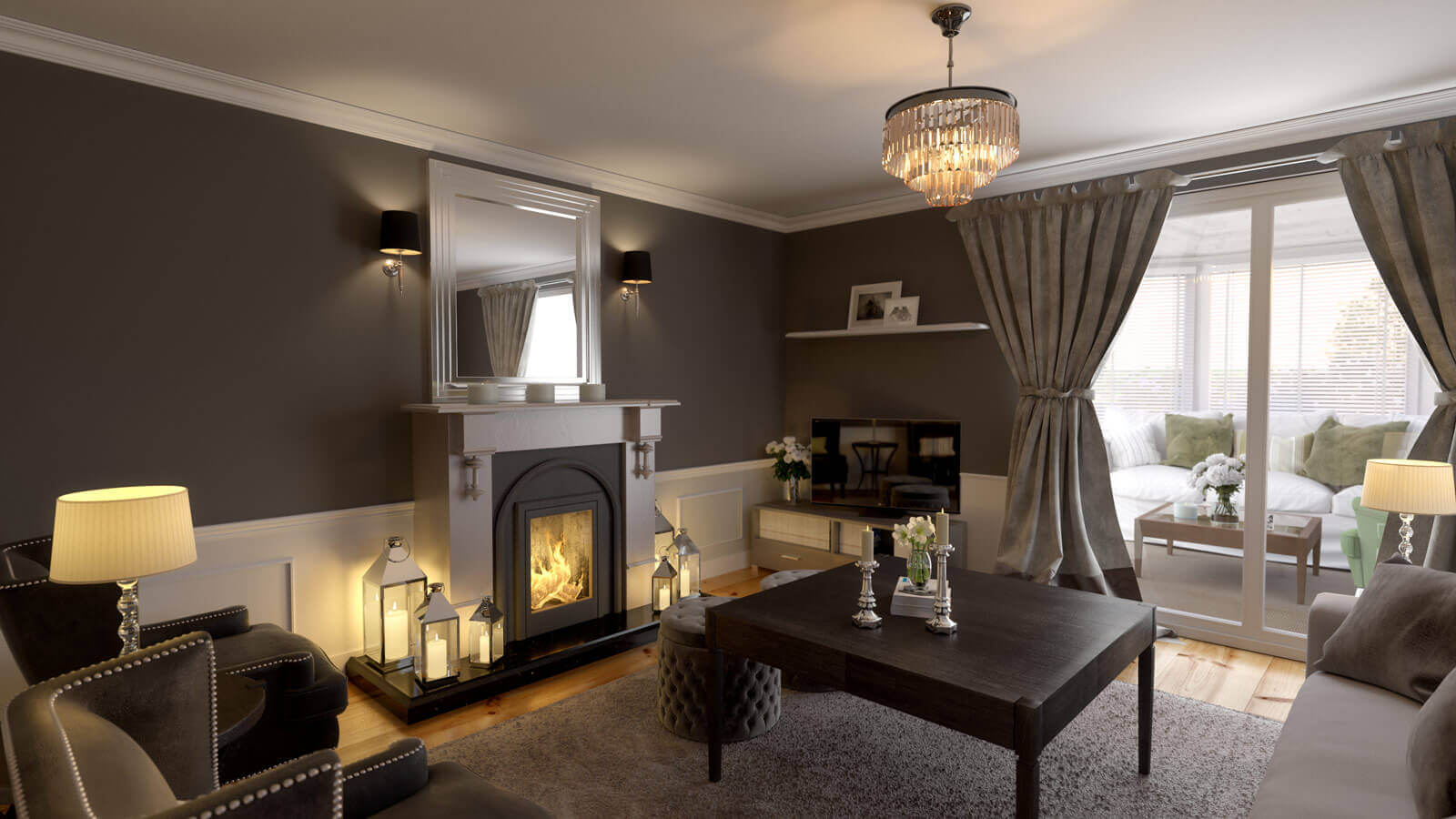 Living Room With Chimney Interior Rendering Aunar 3d