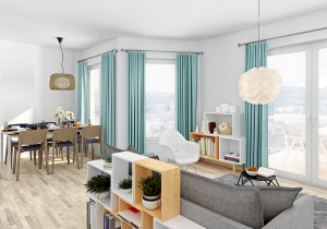 3d interior rendering Living room in Oslo Norway