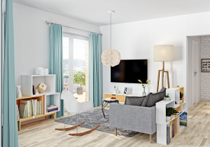 3d interior rendering Living room in Oslo Norway