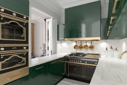 3d interior visualization of kitchen in Moscow's apartment
