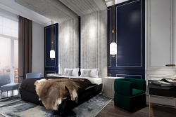 3d visualization of Luxurious bedroom in Moscow's apartment