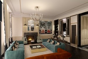 3d interior visualization of livingroomin Moscow's apartment
